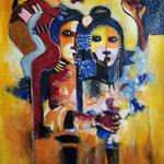 """"""" L'amour sans frontières """" 122 x 100 Cm - Acrylique , Mixte  - 2021"""