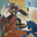 Mère dans la rue - 65,5x80 - Acrylique - 2010 (VENDUE)