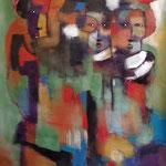 """"""" Penseuse """"  125 × 100 cm - Acrylique , Mixte - 2020"""