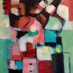 """"""" Ceux des bidonvilles """" 122 x 76 cm - Acrylique , Mixte - 2020"""