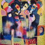""""""" I am a migrant """"  123 x 104 cm - Acrylique , Mixte - 2020"""