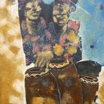 Femmes face aux tambours - 60x80 - Acrylique - 2010