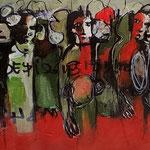 """ Combattants 1 "" 92 x 20 cm -Acrylique , Mixte - 2020"