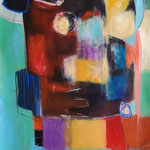 """"""" Communion 2 """" 148 x 67 cm - Acrylique , Mixte - 2020"""