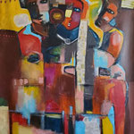 """"""" Civilisations """"  131 x 98 cm - Acrylique , Mixte - 2020"""
