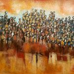 Les déplacés -108 cm x 141 cm - Acrylique , Mixte -  2018