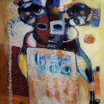 Temple de savoir - 96 cm x 80 cm - Acrylique , Mixte - 2018