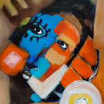 """ Anonyme  "" 50 x 38 cm - Acrylique , Mixte - 2020"