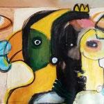 """"""" Love-distance """" 130 x 38 cm - Acrylique , Mixte - 2020"""
