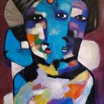 """"""" Fausse Jumelles """" 122 x 76 cm - Acrylique , Mixte - 2020"""