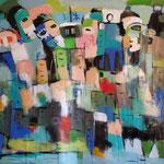 """"""" Ville fantôme """"  162 x 122 cm - Acrylique , Mixte - 2020"""