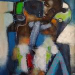 """"""" L'homme d'Amazoni """"  116 x 87 cm - Acrylique , Mixte - 2020"""