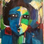 """"""" Anonyme """" 65 x 59 Cm - Acrylique , mixte sur papier - 2021"""