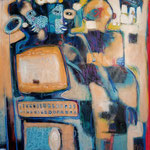 L'homme et sa machine  - 139 cm x 96 cm - Acrylique , Mixte - 2018