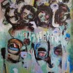 Sortir del'ombre - 104 cm x 90 cm - Acrylique , Mixte -2018