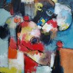 """"""" Pouvoir sourire """" 65 x 80 cm - Acrylique , Mixte - 2021"""
