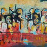 Les hommes sur l'eau - 89x129- Acrylic Mixte -2017