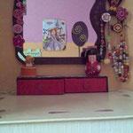 miroir et rangements accessoires en carton