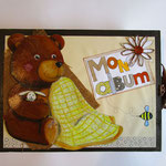 idée de cadeau... album entièrement réalisé en carton, illustration pastels gras, personnalisable (format, graphisme...)