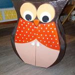 Petit meuble Hibou déco, personnalisable, réalisé en carton recyclé, enduit fait maison, peinture acrylique, vitrificateur aquaréthane