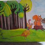 Nouvel album en carton, offert à l'occasion du départ de 2 enseignants. A l'intérieur, sera glissé un cahier de dessins réalisés par les enfants. Tout est fait main, illustration, peinture acrylique sur le thème du spectacle de fin d'année.