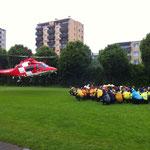 Einweisung des Rettungshelikopters