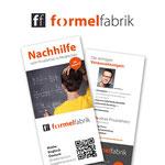 Geschäftsauftritt  |  Auftritt der formelfabrik – Logoentwicklung, Flyer, Funktionspapier, YouTube-Erscheinungsbild