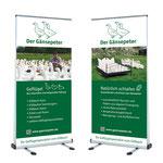 Erscheinungsbild  |  Geschäftsauftritt Gänsepeter – Flyer, Broschüre, Visitenkarten, Roll-Ups, Anzeigen