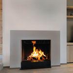 Foyer à bois look cheminée - Vitre escamotable
