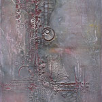 Spachtelmasse, Acrylfarbe, 40 x 80 cm. Sold