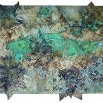 Patina, Tusche, Seidenpapier, Marmormehl, Pigmente, 100 x 70 cm