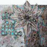 Acrylfarbe, div. Gegenstände, Pigmente, 70 x 60 cm