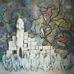 Acrylfarbe, 80 x 80 cm. Sold
