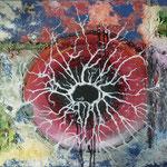verschiedene Spachtelmassen, Acrylfarbe, Tusche, 100 x 80 cm