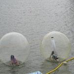 22日(日)三隈川の水上ステージ横であった『アクアボール』