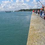 pêcheurs le long de la cale