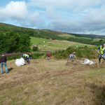 Raking grass up from wildflower meadow at picnic site 18/08/2019