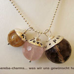 Edelstein-Charms von asereba mit beschriftbarer Silberkappe