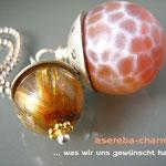 """Edelstein-Charm """"Rutilquarz + (Feuer-)Achat"""" mit beschriftbarer Silberkappe"""