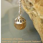 """Edelstein-Charm """"Rutilquarz"""" mit beschriftbarer Silberkappe"""