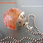 """Edelstein-Charm """"(Feuer-)Achat"""" mit beschriftbarer Silberkappe"""