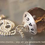 "Edelstein-Charm ""Rauchquarz"" mit beschriftbarer Silberkappe"