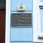 """Gedenktafel am Geburtshaus von Carl Teike, dem Komponisten des Marsches """"Alte Kameraden"""""""