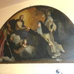 Firenze, Chiesa del Carmelo, A. Camassei, Gesù dona l'anello a S. Maddalena in presenza di S. Agostino e Caterina da Siena (1637)