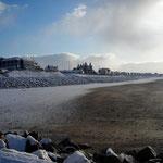 La plage de Carteret sous la neige