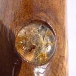 Intarsienarbeit mit Bernstein mit Insekteneinschluss