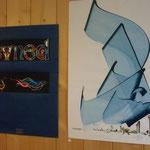 """Hassan MASSOUDY/ Calligraphie celtique ("""" OISEAU"""")"""