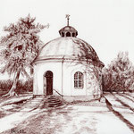 Rundkirche in Dolgen, Sepiastift (Auftragsarbeit)