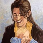 Lucy mit Kind, Öl
