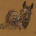 A.K. mit Pferd, Bleistift & weiße Kreide (unverkäuflich)